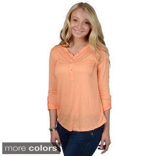 Hailey Jeans Co. Junior's Roll-sleeve Knit Top