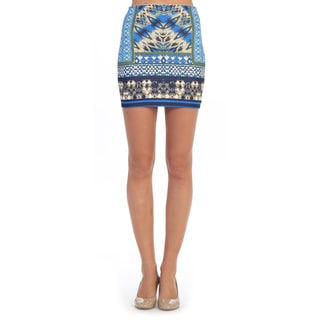 Hadari Women's Royal Blue and Cream Geometric Mini Skirt