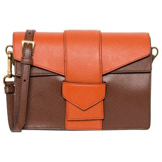 Prada Saffiano Bi-color Orange/ Tan Shoulder Bag