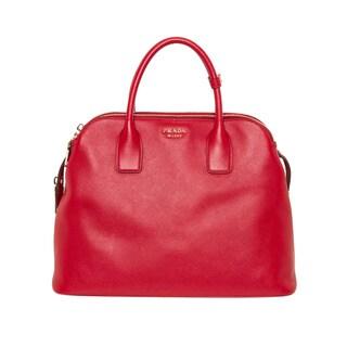 Prada Medium Red Saffiano Triple Zip Top Handle Bag