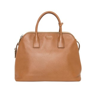 Prada Medium Caramel Saffiano Triple Zip Top Handle Bag