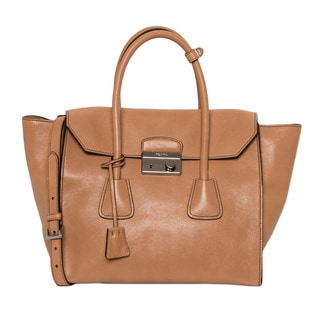 Prada Glace Natural Leather Tote Bag with Flap