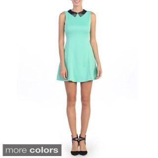 Hadari Women's Sleeveless Jeweled Collar A-line Dress