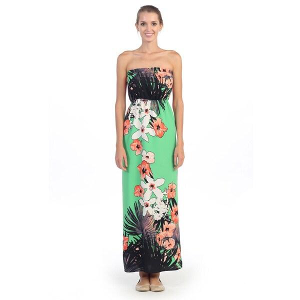 Hadari Women's Japenese Floral Print Strapless Maxi Dress