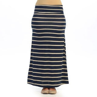 Hadari Women's Plus Size Navy and Ivory Striped Maxi Skir