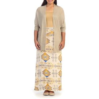 Hadari Women's Plus Beige Aztec Print Maxi Skirt