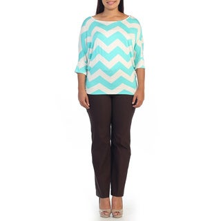 Hadari Women's Plus Size Mint Chevron Print Dolman Top