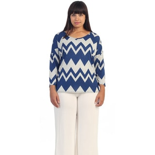 Hadari Women's Plus Size White and Royal Chevron Dolman T