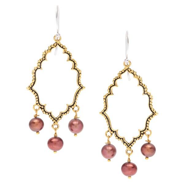 Mila Antiqued Brass Chocolate Pearl Dangle Earrings