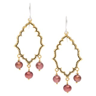Mila Antiqued Brass Chocolate Pearl Dangle Earrings