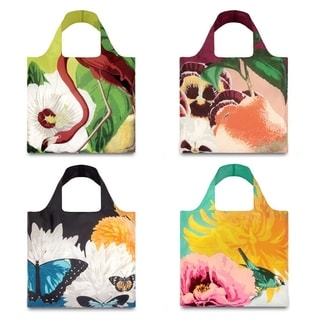 LOQI 'Botany' 4-piece Reusable Shopper Tote Bag Set