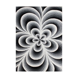 Alliyah Handmade Hi-N-Low White Flowers New Zealand Blend Wool Rug (9' x 12')
