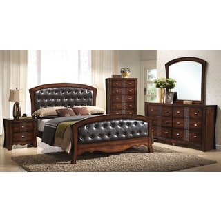 Juliana 5-piece Medium Espresso Faux Leather Bedroom Set