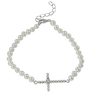Pearls For You Sterling Silver White Freshwater Pearl Sideways Cross Bracelet (4-4.5 mm)