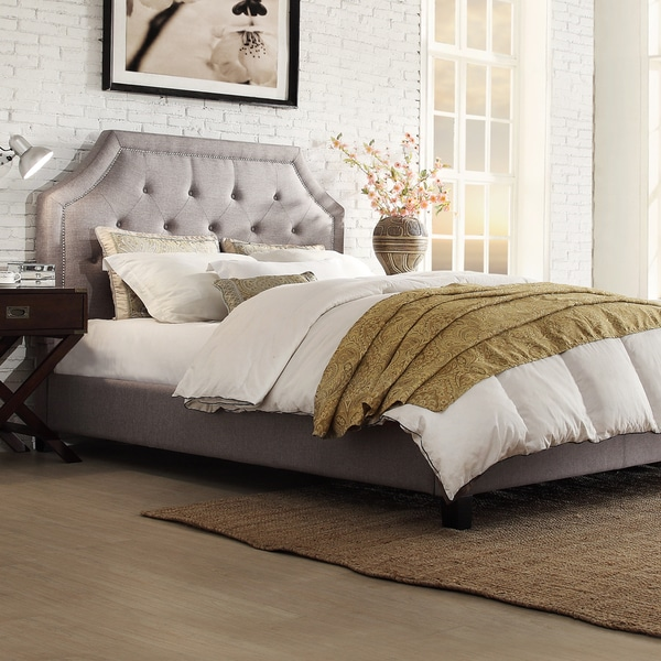 Inspire q grace grey linen button tufted arched bridge upholstered bed 02f684b7 47ef 4a13 a49b 565cfe4430d2 600