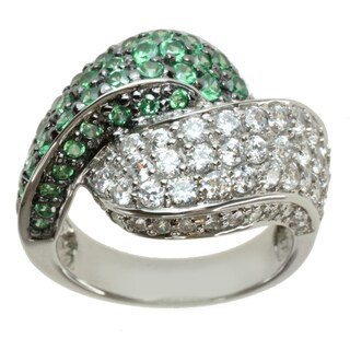 Michael Valitutti Signity Sterling Silver Green and White Cubic Zirconia Ring