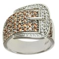 "Michael Valitutti Signity Sterling Silver Chocolate and White Cubic Zirconia ""Buckle"" Ring"