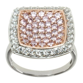 Michael Valitutti Signity Two-tone Pink and White Cubic Zirconia Ring