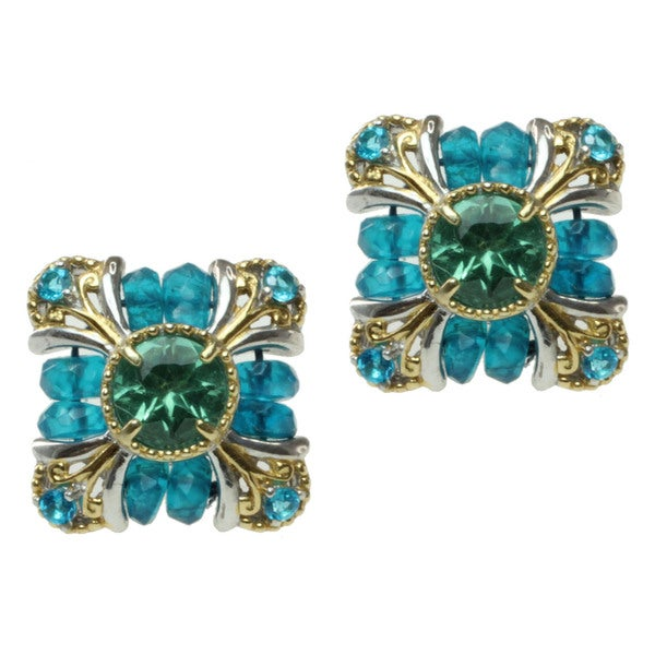Michael Valitutti Two-tone Green and Blue Apatite Stud Earrings