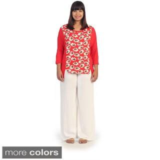 Hadari Women's Plus Daisy Long Sleeve Top