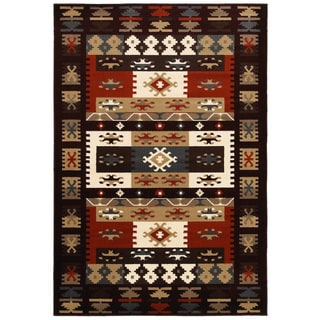 "LNR Home Adana Burgundy Rectangle Plush Indoor Area Rug 5'3""x 7'5"""