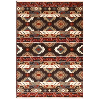 "LNR Home Adana Brown Rectangle Plush Indoor Area Rug 5'3""x 7'5"""