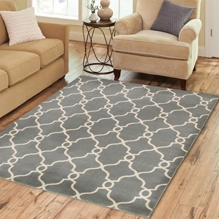 "LNR Home Adana Gray Rectangle Plush Indoor Area Rug 5'3""x 7'5"""