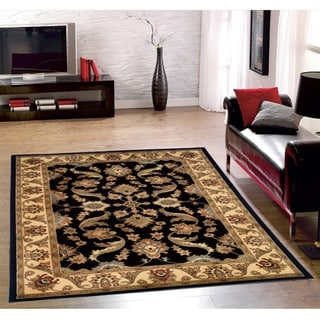 LNR Home Adana Black/ Cream Oriental Area Rug (9'2 x 12'6)