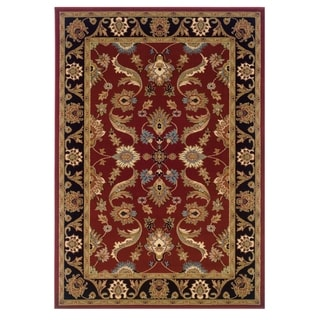 LNR Home Adana Red/ Black Floral Area Rug (9'2 x 12'6)