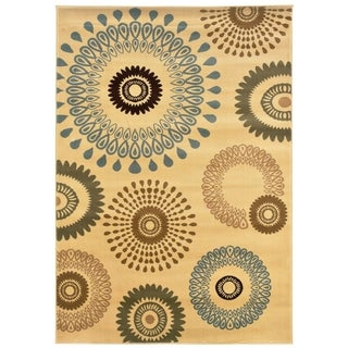 LNR Home Adana Cream Floral Area Rug (9'2 x 12'6)