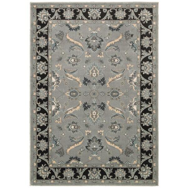 LNR Home Adana Grey/ Black Floral Area Rug (1'9 x 2'9)