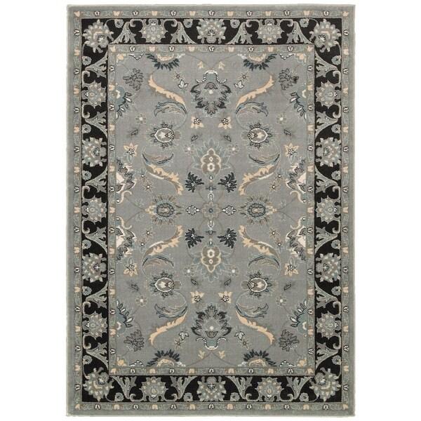 LNR Home Adana Grey/ Black Floral Area Rug (1'9 x 2'9) - 1'9 x 2'9 13181785