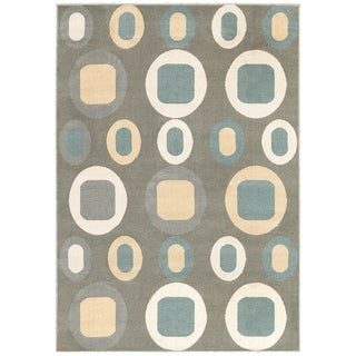 LNR Home Adana Dark Grey Geometric Area Rug (7'9 x 9'9)