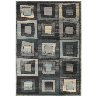 LNR Home Adana Blue Geometric Area Rug (7'9 x 9'9)