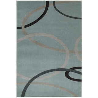 LNR Home Adana Light Blue Geometric Area Rug (7'9 x 9'9)