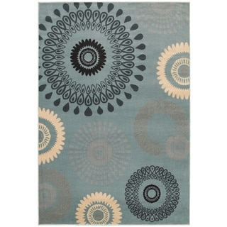 "LNR Home Adana Light Blue Plush Indoor Rectangle Area Rug 7'9"" x 9'9"""