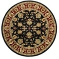 LNR Home Adana Black/ Red Floral Area Rug (4' Round)