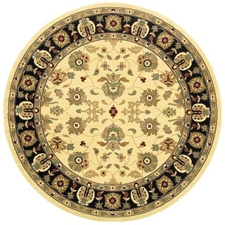 LNR Home Adana Cream/ Black Floral Area Rug (9'1 Round)