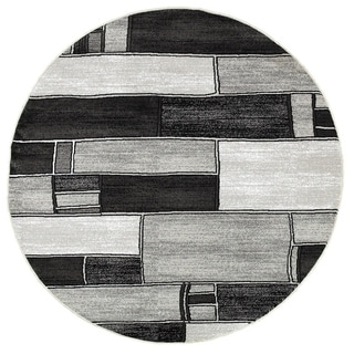LNR Home Adana Charcoal/ Grey Round Geometric Area Rug (6'2 Round)