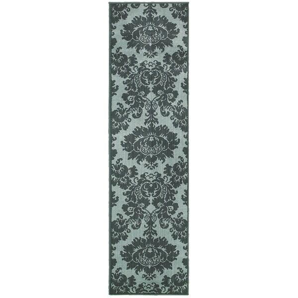 LNR Home Adana Blue Floral Runner Rug (1'9 x 6'9)