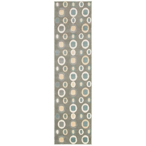 LNR Home Adana Dark Grey Geometric Runner Rug (1'9 x 6'9)