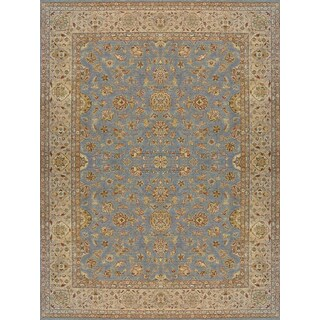 Hand Knotted Ziegler Blue Beige Vegetable Dyes Wool Rug (10' x 14')