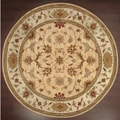 Hand-knotted Ziegler Gold Beige Vegetable Dyes Wool Rug (6' Round)