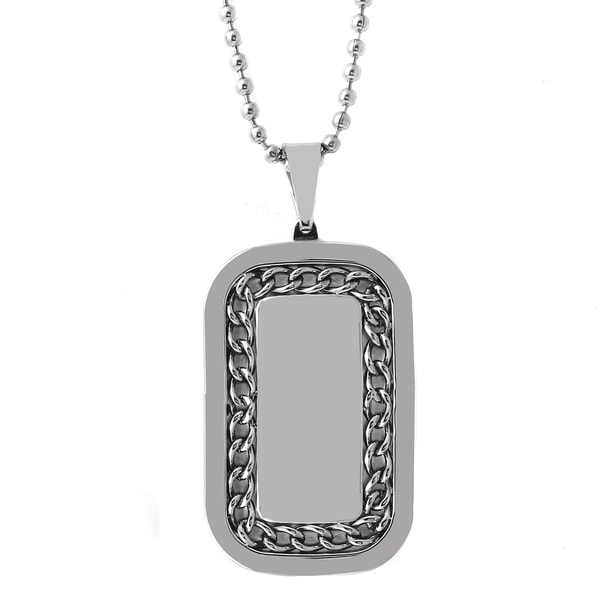 Stainless Steel Men's 24-inch Chain Dog Tag