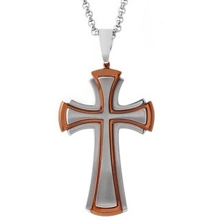 Stainless Steel Men's 24-inch Rolo Chain Multi-layered Cross Necklace