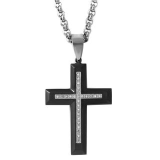 Stainless Steel Men's Black Ion-plated 1/8ct TDW Diamond Cross Necklace (H-I, I1-I2)