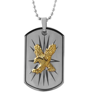 Stainless Steel Men's Two-tone Eagle Dog Tag Necklace