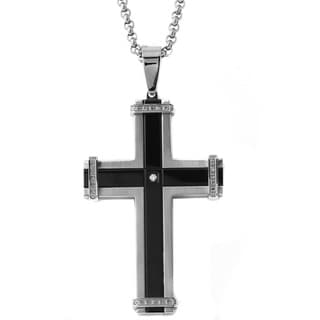 Stainless Steel Men's Two-tone 1/6ct TDW Diamond Cross Necklace (H-I, I1-I2)