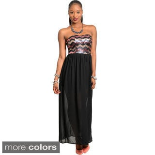 Shop The Trends Women's Strapless Maxi Dress with Zig-zag Sequined Pattern Design