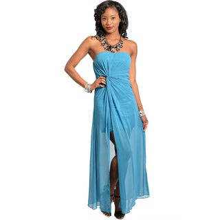 Shop The Trends Women's Strapless Sweetheart Maxi Dress with Knotted Waist Design